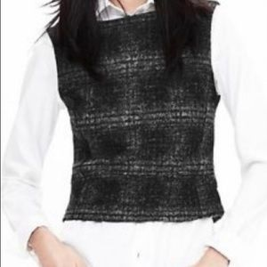 Banana Republic Plaid Wool Vest Crop Low Back NWT